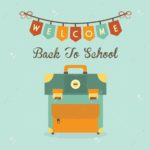 illustrazione Welcome Back To School banner message with retro school bag icon